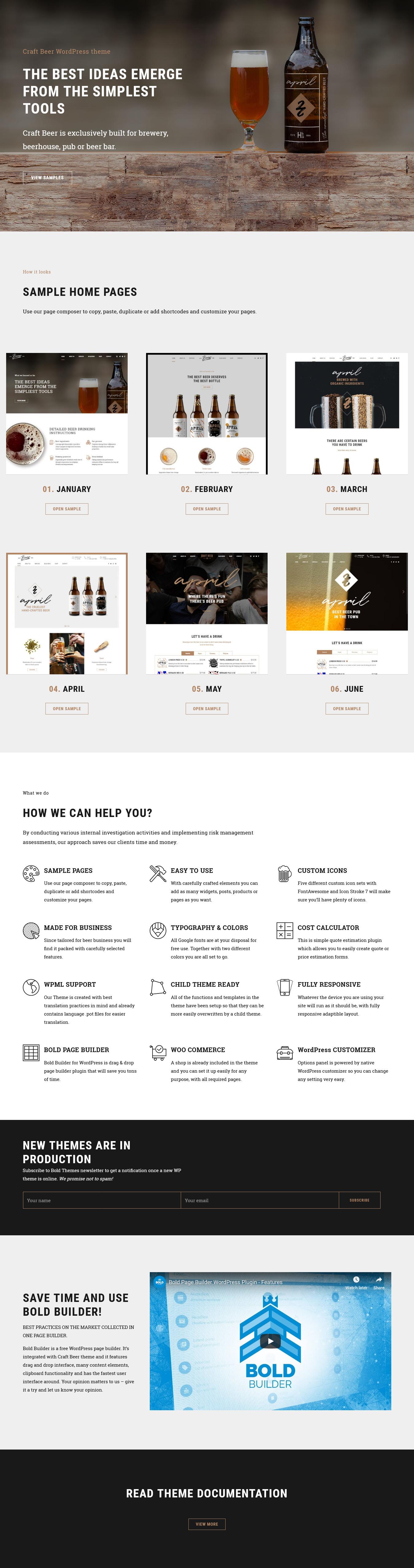 craft beer best premium bar pub wordpress theme - 10+ Best Premium Bar and Pub WordPress Themes