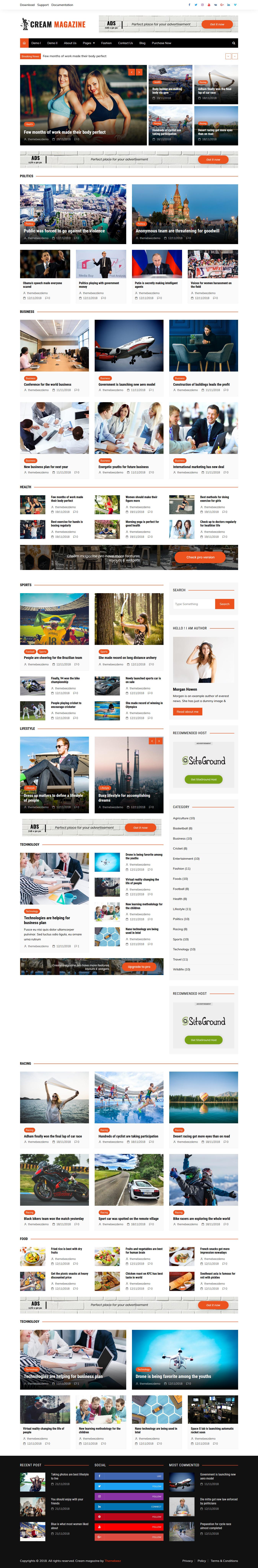 cream magazine best free review wordpress theme - 10+ Best Free Review WordPress Themes