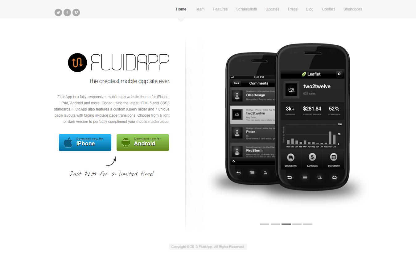 fluidapp best premium mobile app wordpress theme - 10+ Best Premium Mobile App WordPress Themes