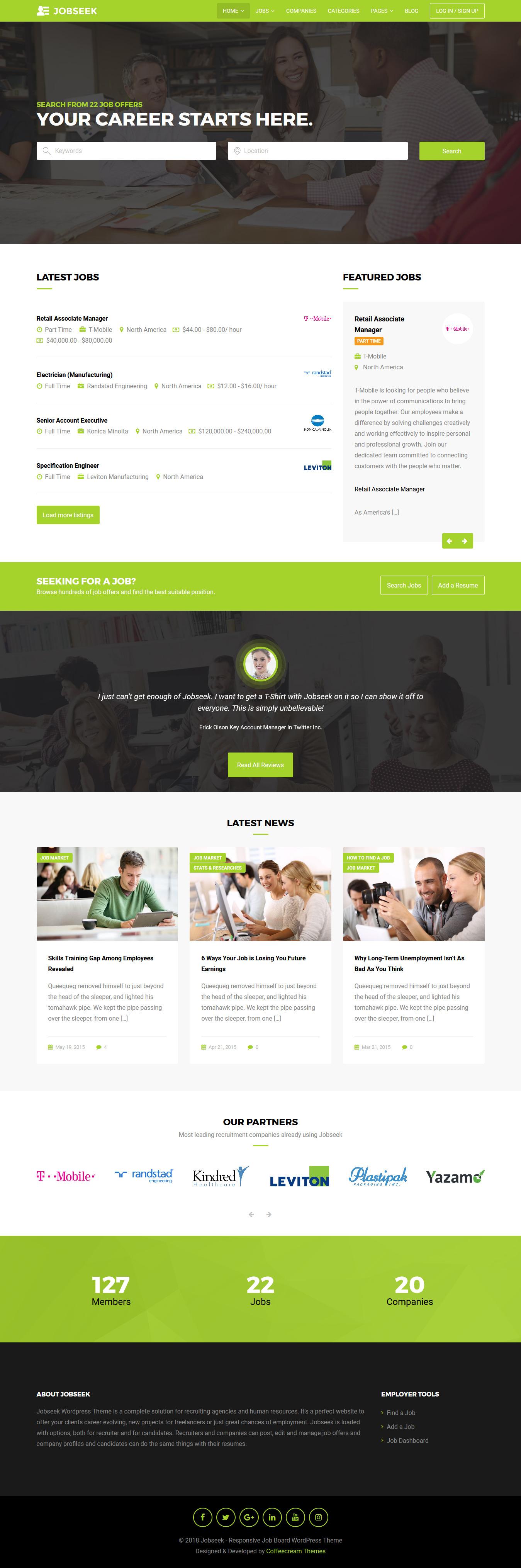 jobseek best premium job board wordpress theme - 10+ Best Premium Job Board WordPress Themes