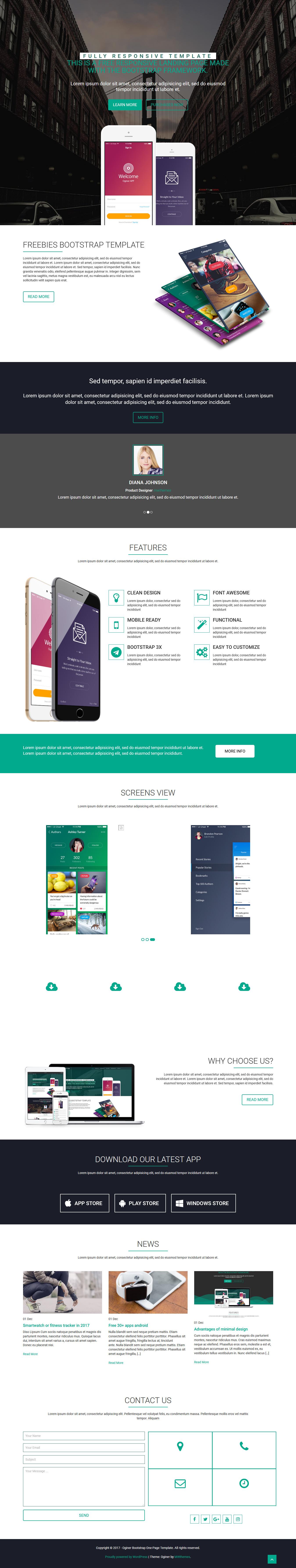 oginer best free mobile app wordpress theme - 10+ Best Free Mobile App WordPress Themes
