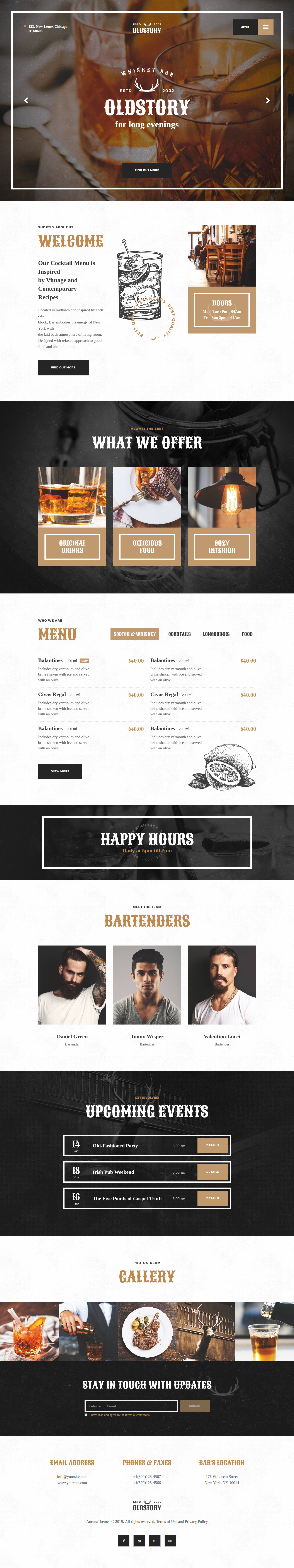 OldStory - Best Premium Bar and Pub WordPress Theme