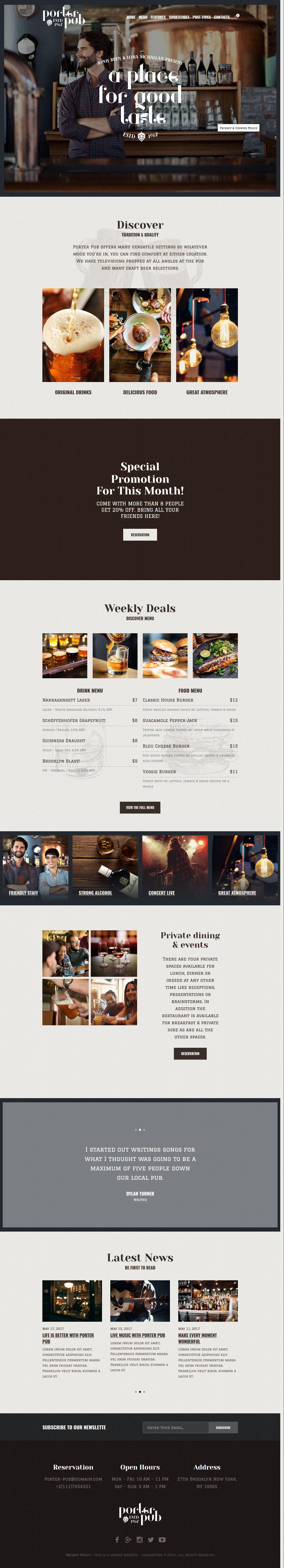 porter pub best premium bar pub wordpress them - 10+ Best Premium Bar and Pub WordPress Themes