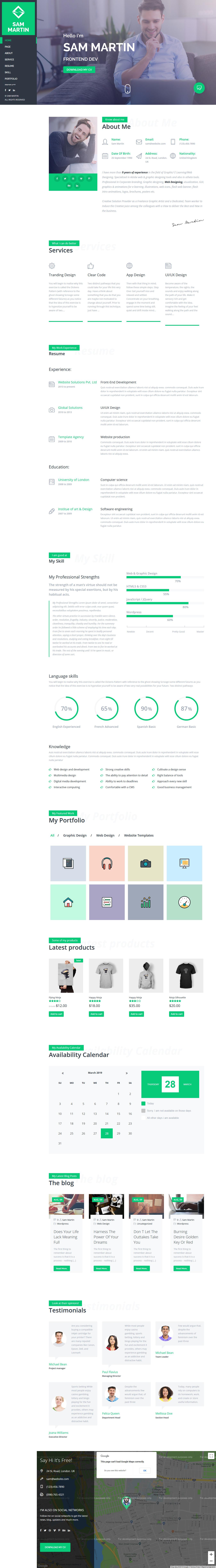 Sam Martin - Best Premium Resume WordPress Theme