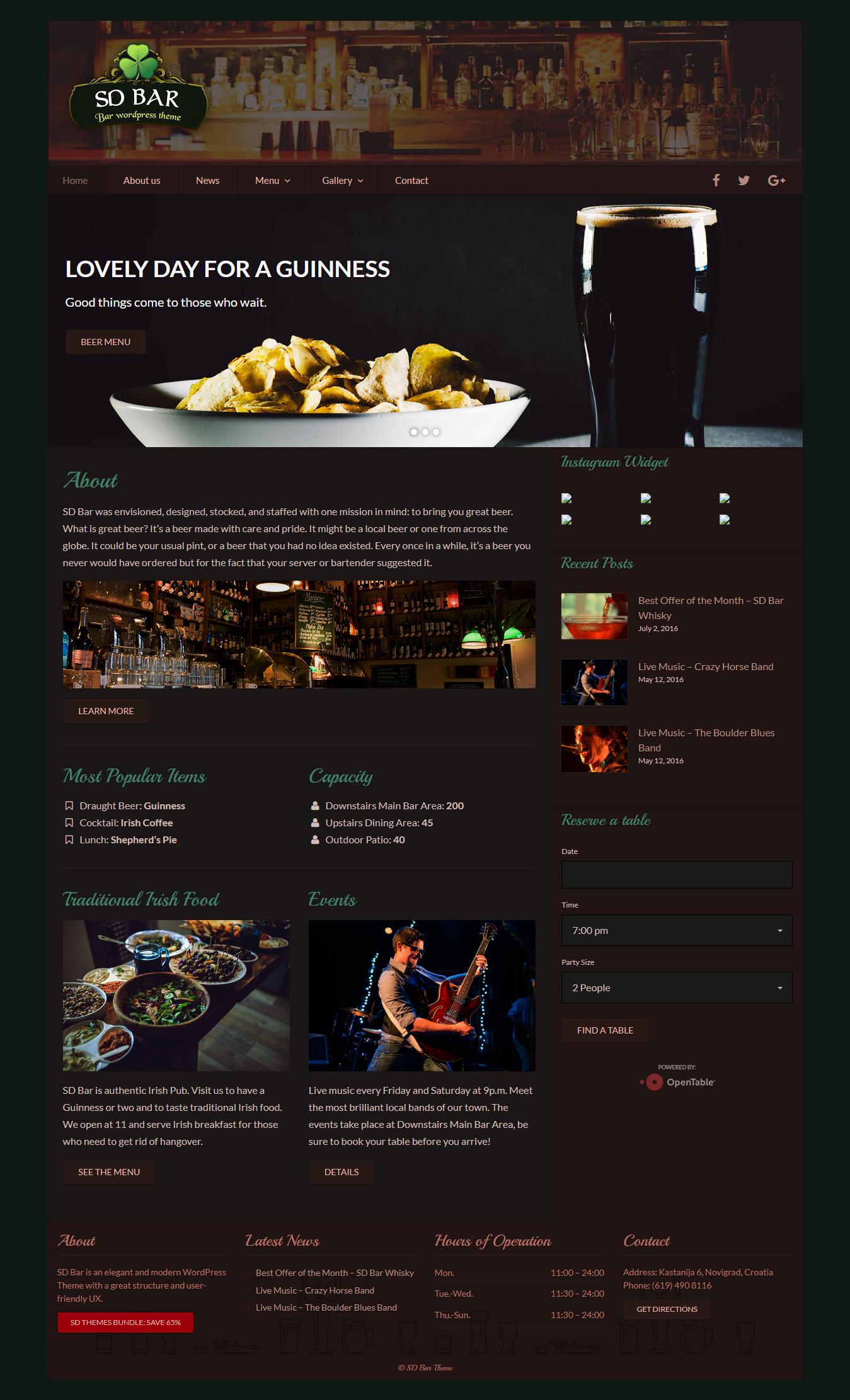 SD Bar - Best Premium Bar and Pub WordPress Theme