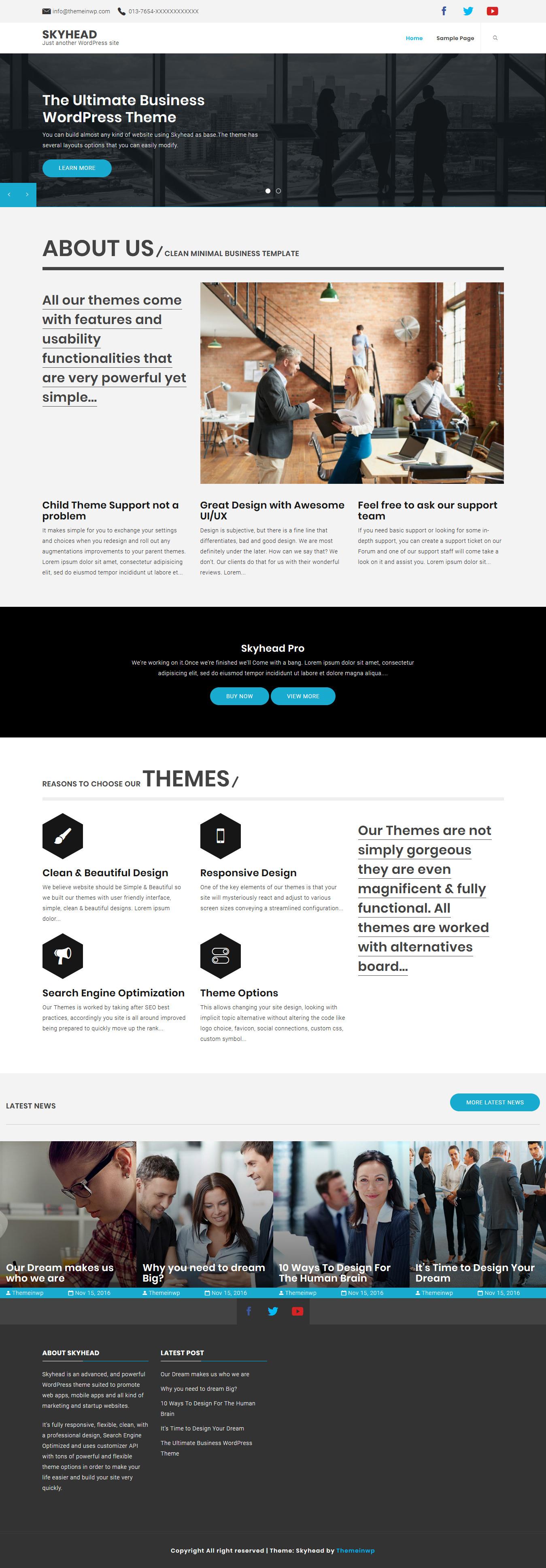 skyhead best free mobile app wordpress theme - 10+ Best Free Mobile App WordPress Themes