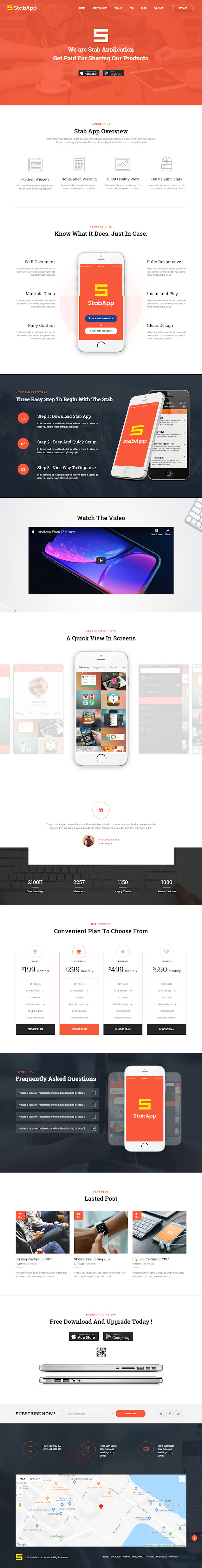 stabapp best premium mobile app wordpress themes - 10+ Best Premium Mobile App WordPress Themes