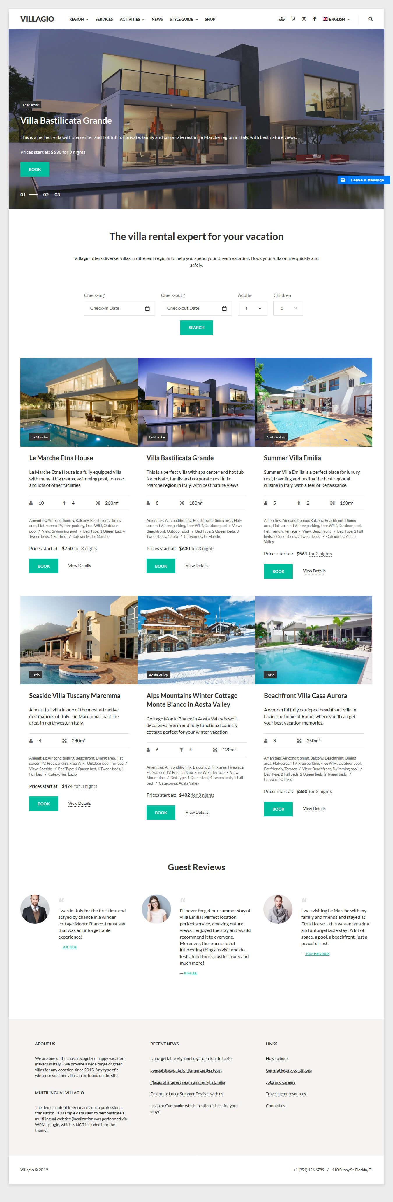 villagio best premium home rental property wordpress theme - 10+ Best Premium Home Rental and Property WordPress Themes