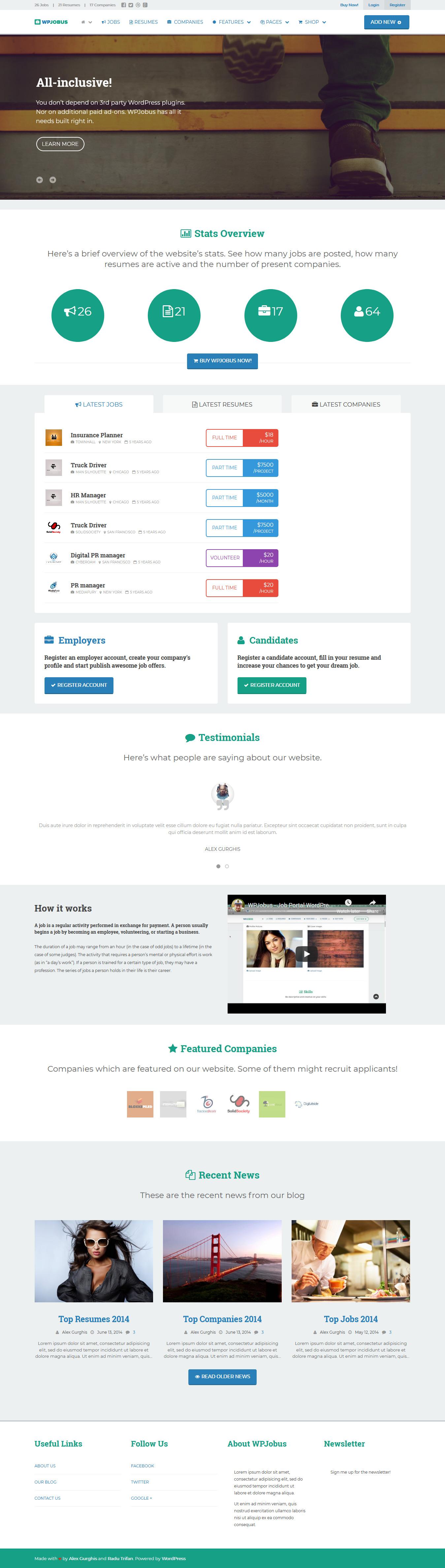 wpjobus best premium resume wordpress theme - 10+ Best Premium Resume WordPress Themes