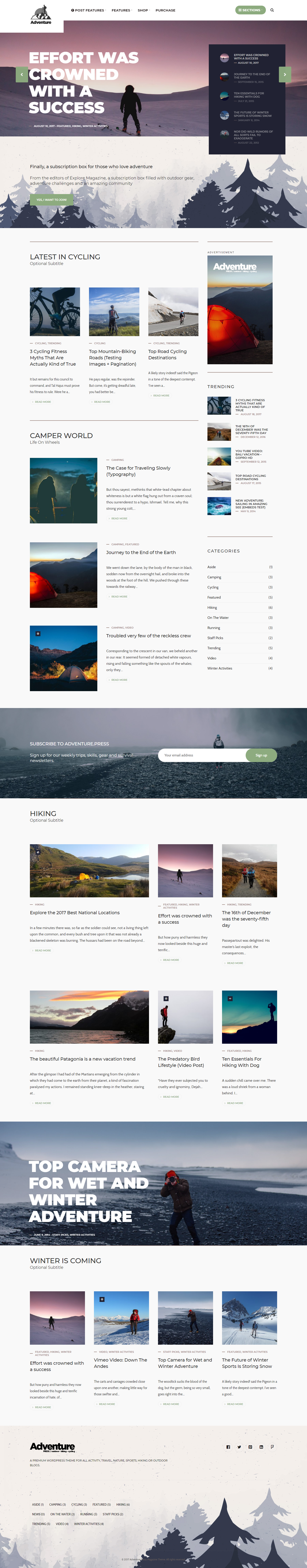 Adventure Press - Best Premium Outdoor Activities WordPress Theme