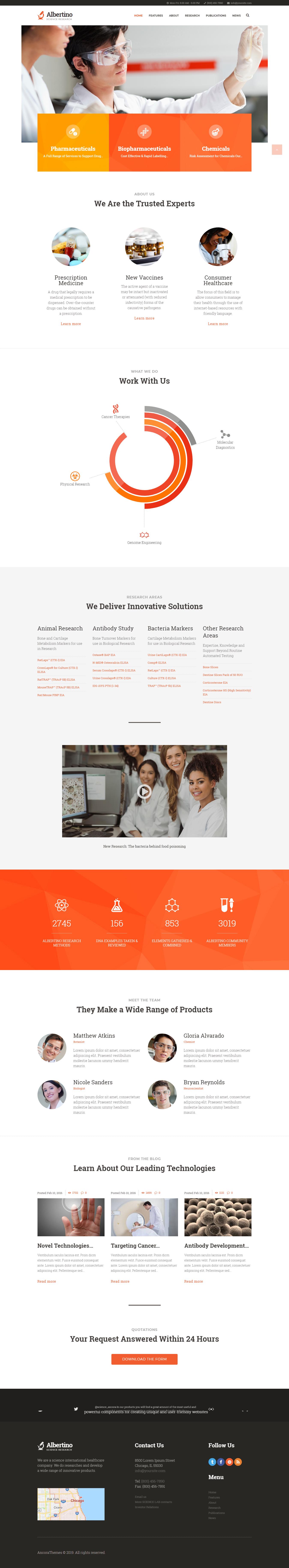 albertino best premium science wordpress theme - 10+ Best Premium Science WordPress Themes