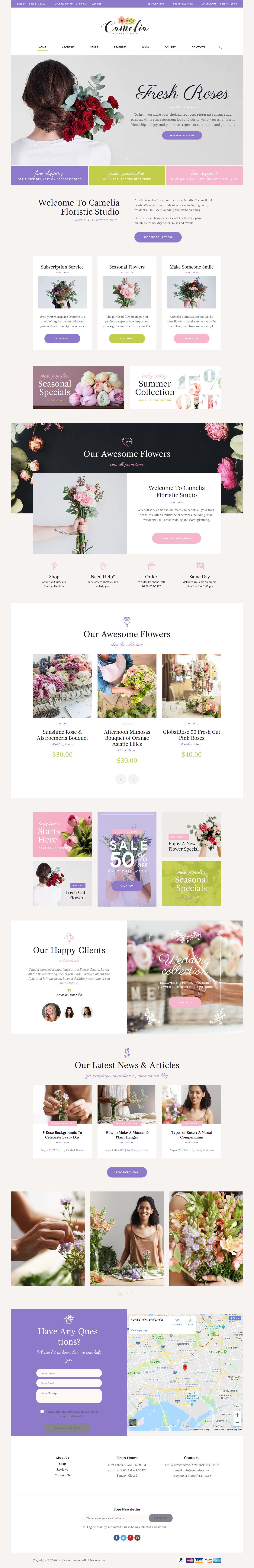 camelia best premium florist floriculture wordpress theme - 10+ Best Premium Florist and Floriculture WordPress Themes