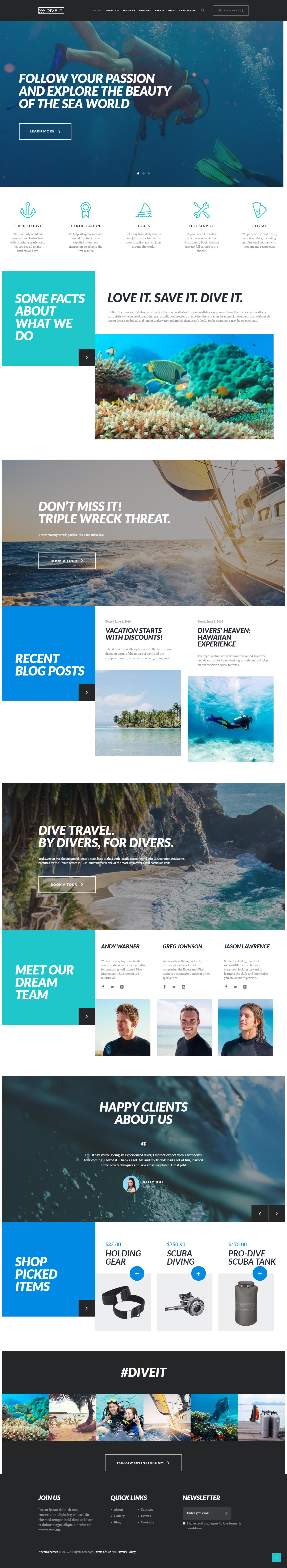 DiveIt - Best Premium Outdoor Activities WordPress Theme