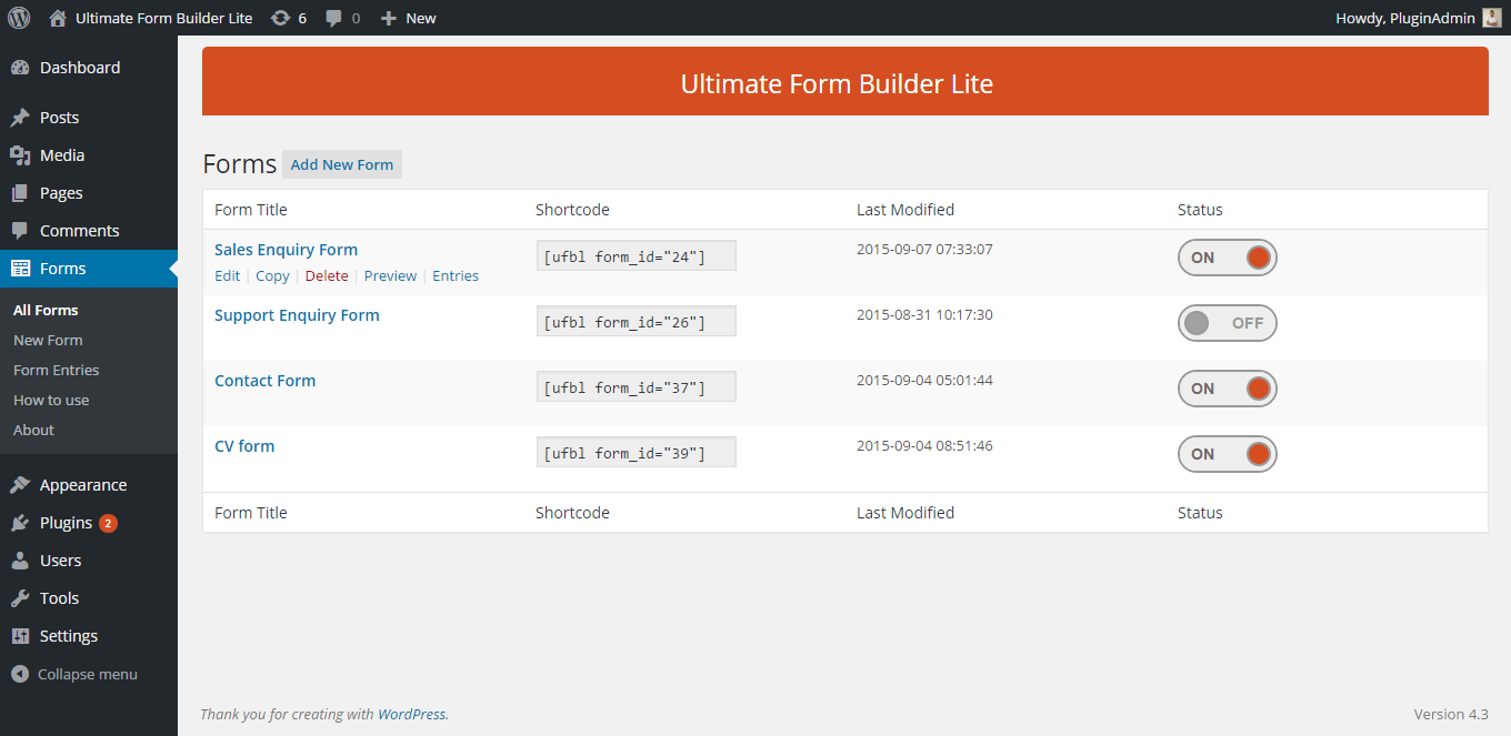 Ultimate Form Builder Lite: Created Forms