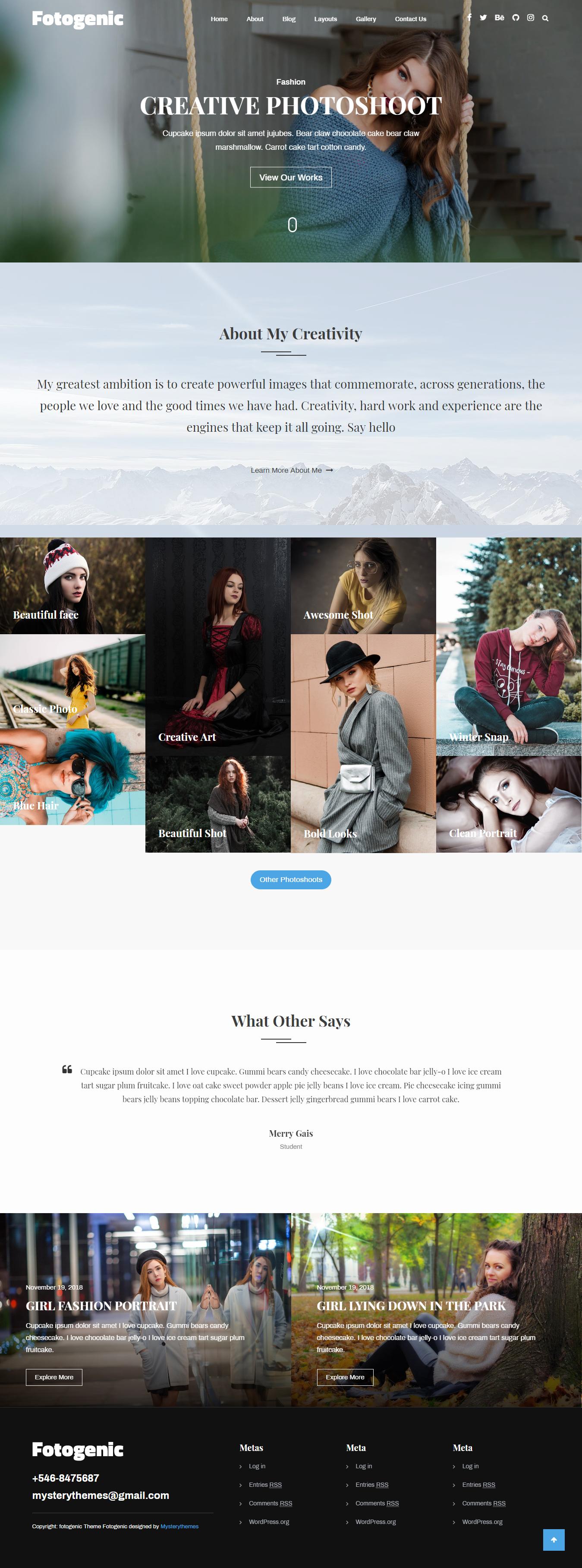 fotogenic best free gallery wordpress theme - 10+ Best Free Gallery WordPress Themes