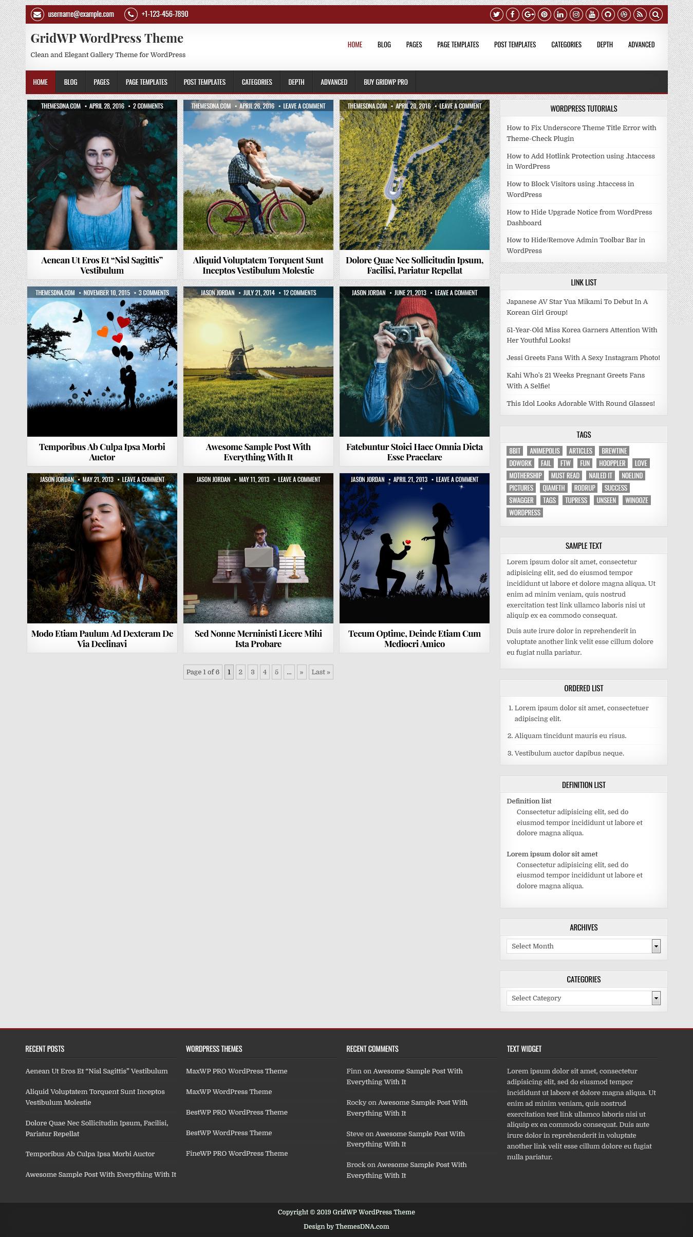 gridwp best free gallery wordpress theme - 10+ Best Free Gallery WordPress Themes