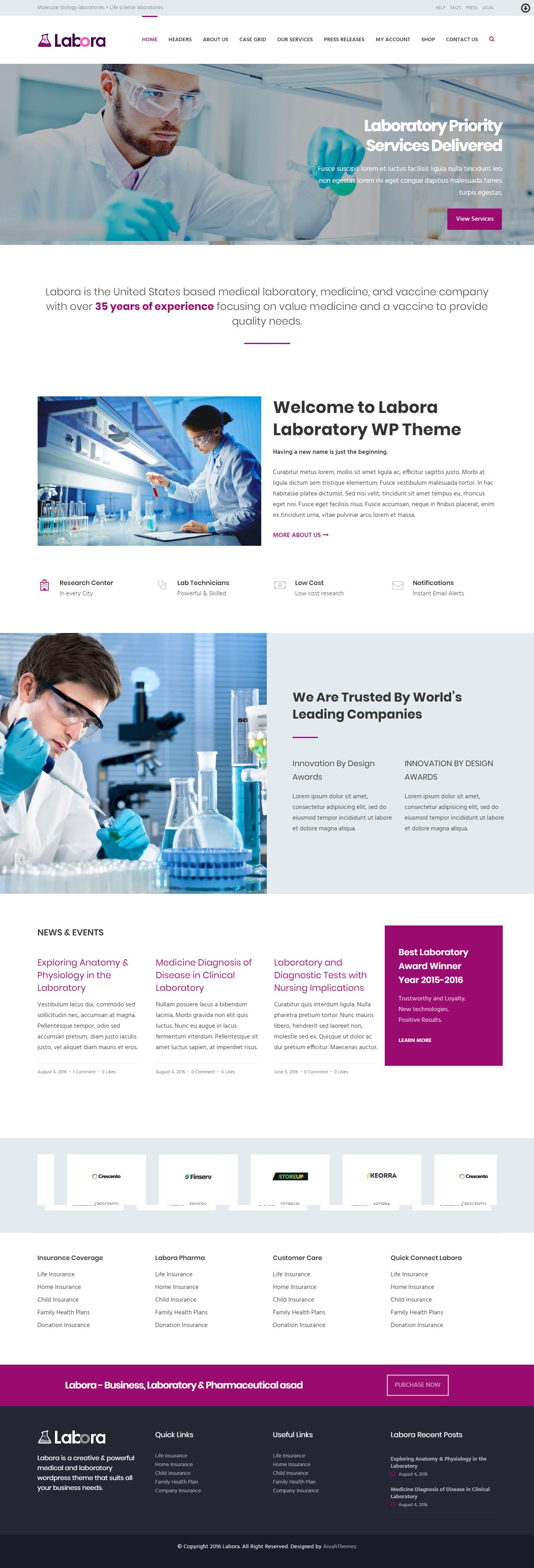 labora best premium science wordpress theme - 10+ Best Premium Science WordPress Themes