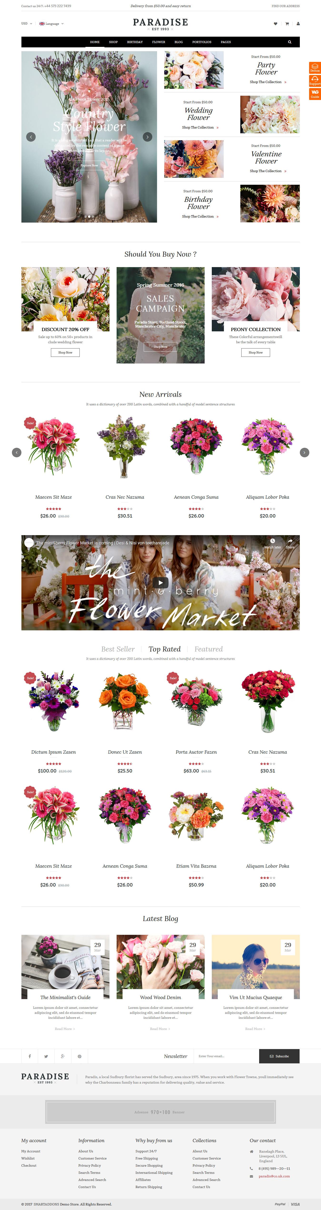 paradise best premium florist floriculture wordpress theme - 10+ Best Premium Florist and Floriculture WordPress Themes