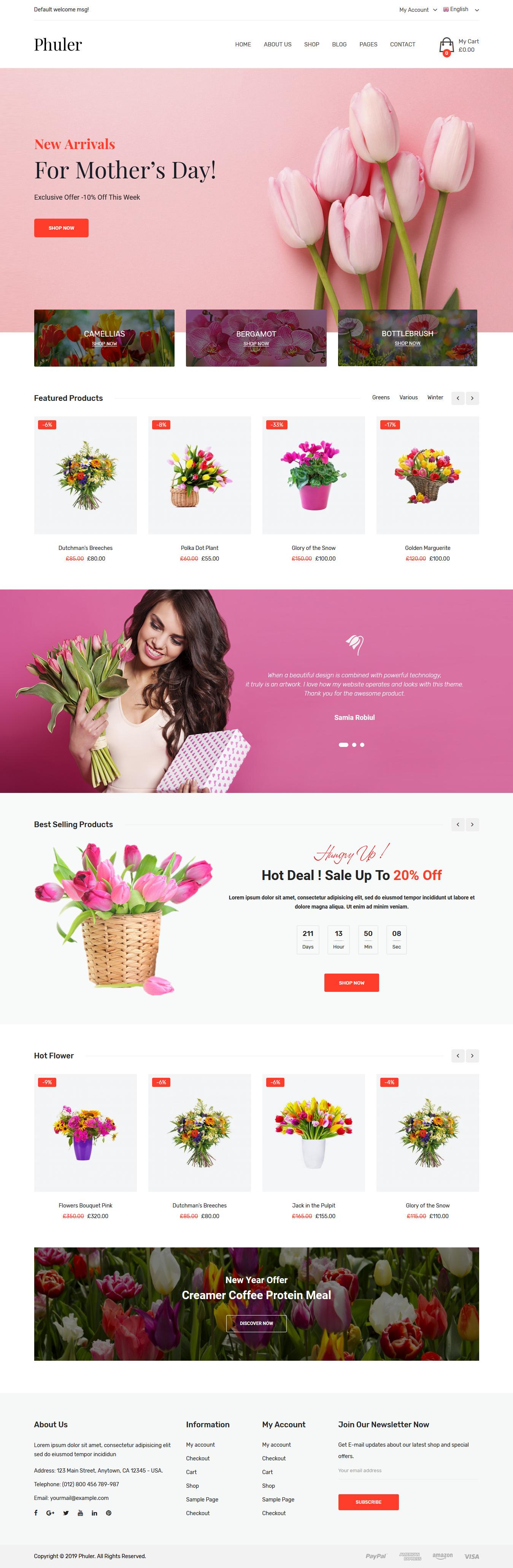 phuler best premium florist floriculture wordpress theme - 10+ Best Premium Florist and Floriculture WordPress Themes