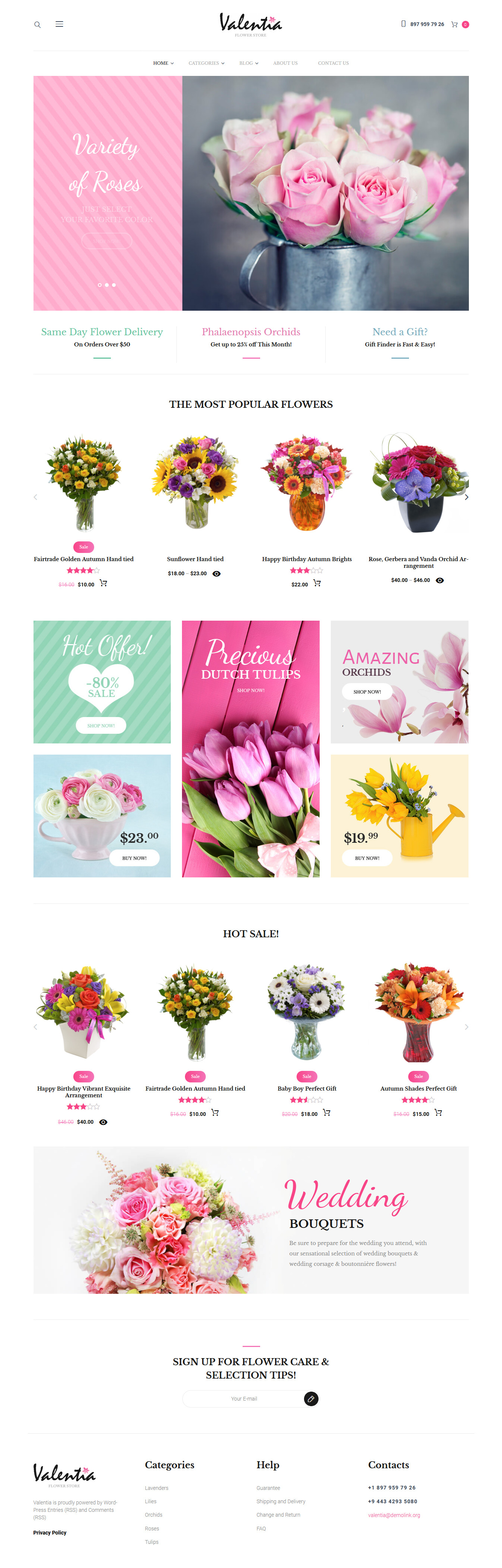 valentia best premium florist floriculture wordpress theme - 10+ Best Premium Florist and Floriculture WordPress Themes
