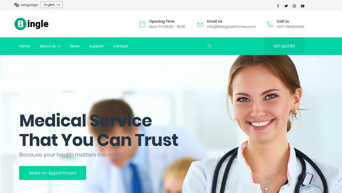 Bingle - Free Medical WordPress Theme