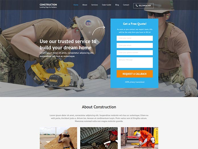 Construction Landing Page Thumbnail