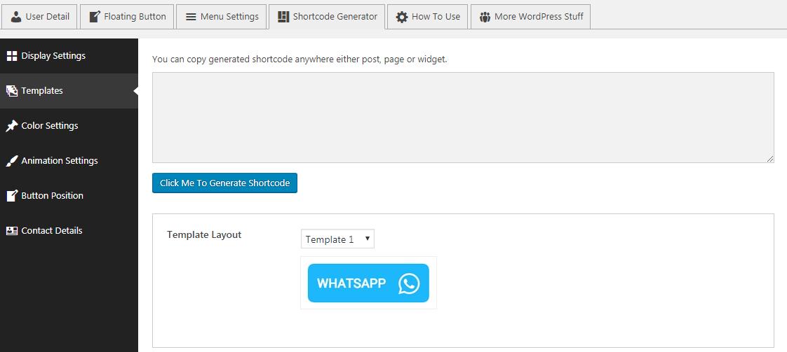 WP WhatsApp Button: Shortcode Generator