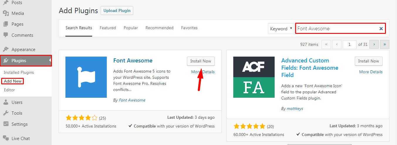 Add Font Awesome Icons in WordPress.