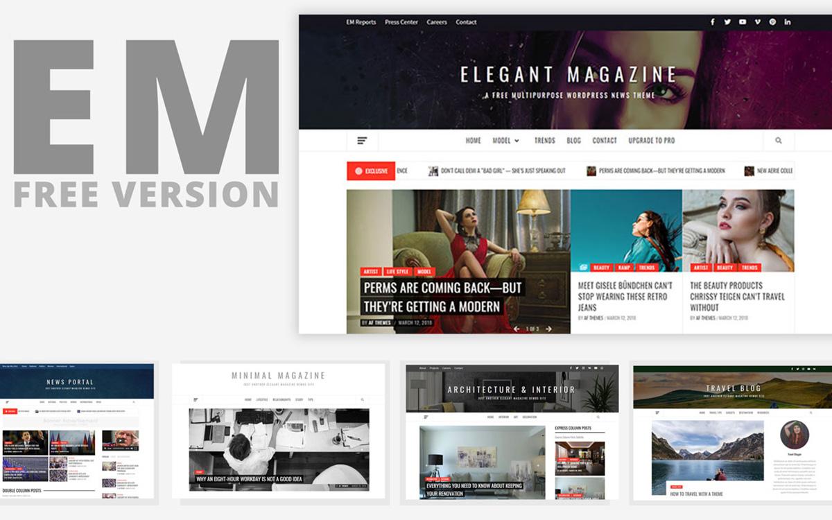 Elegant Magazine 1 - 25+ Best Free Responsive Magazine WordPress Themes 2020
