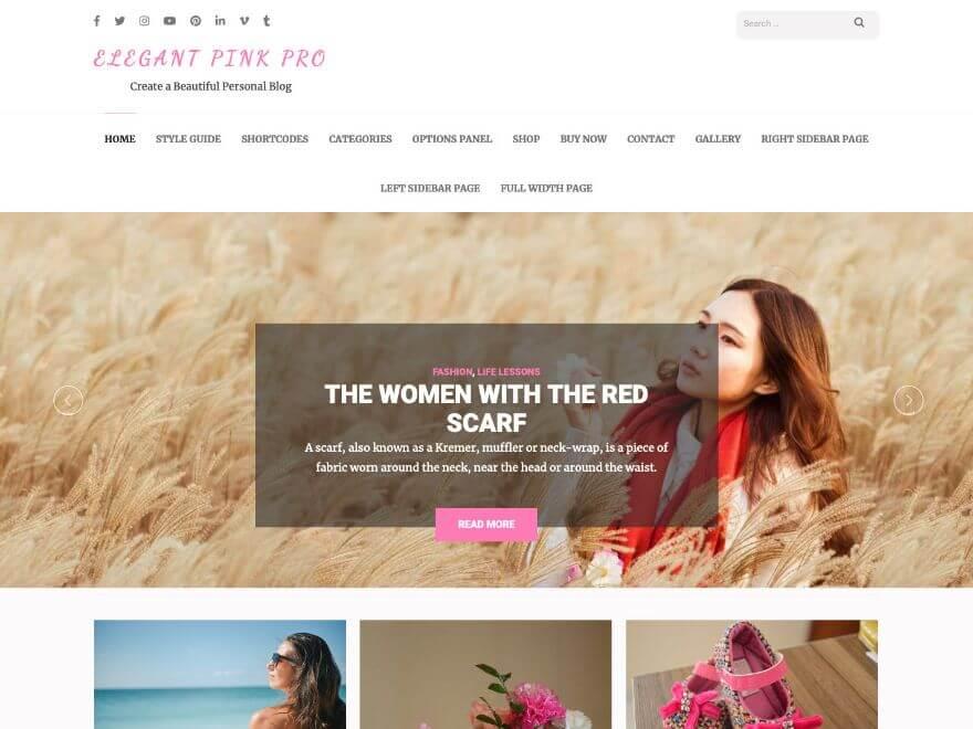 Elegant Pink Pro - Premium WordPress Blog Theme
