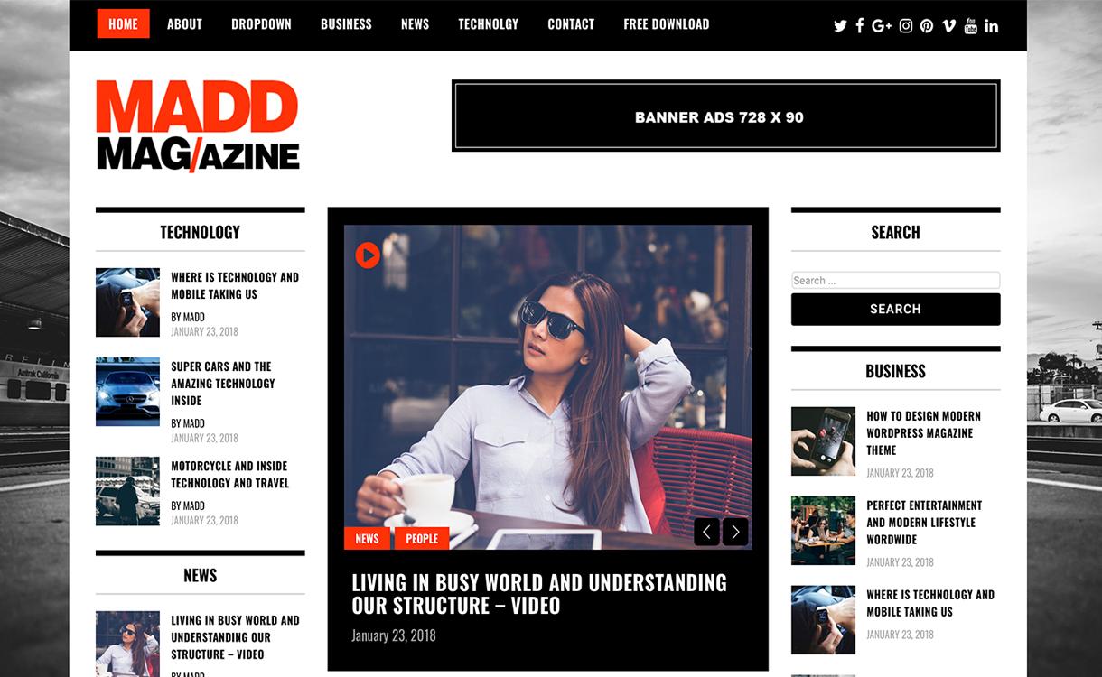 MaddMagazineTheme - 25+ Best Free Responsive Magazine WordPress Themes 2020