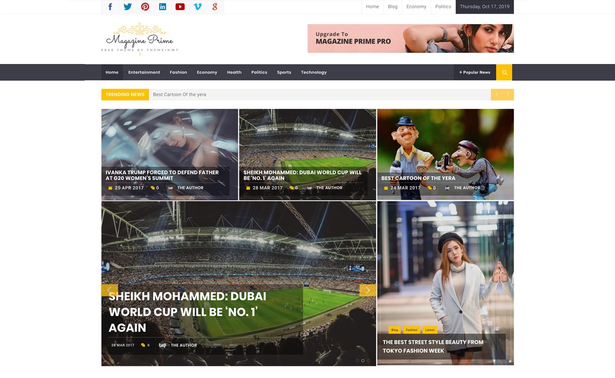 Magazine Prime Screenshot - 25+ Best Free Responsive Magazine WordPress Themes 2020