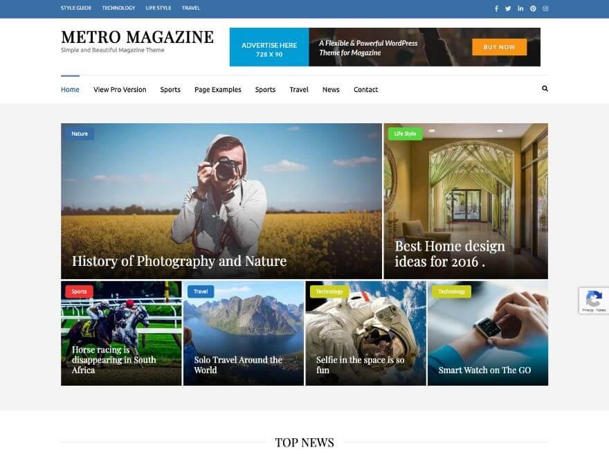 Metro Magazine - Free Responsive Magazine WordPress Theme