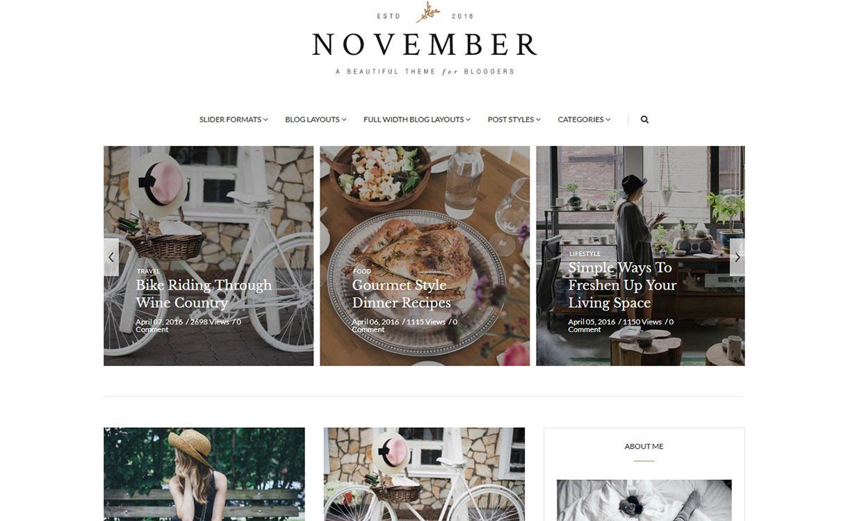 November Blog WordPress Theme