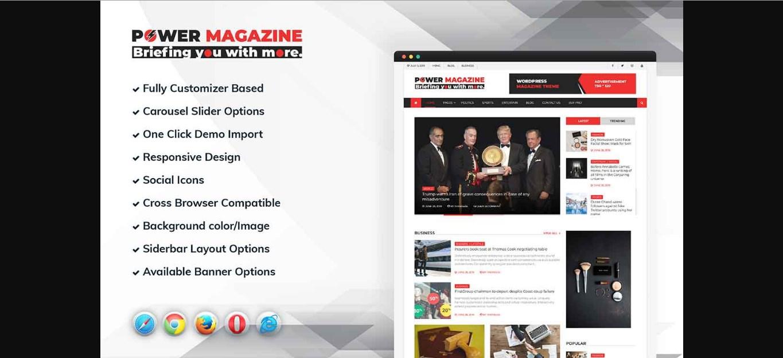 Power Magazine WordPress Theme - 25+ Best Free Responsive Magazine WordPress Themes 2020