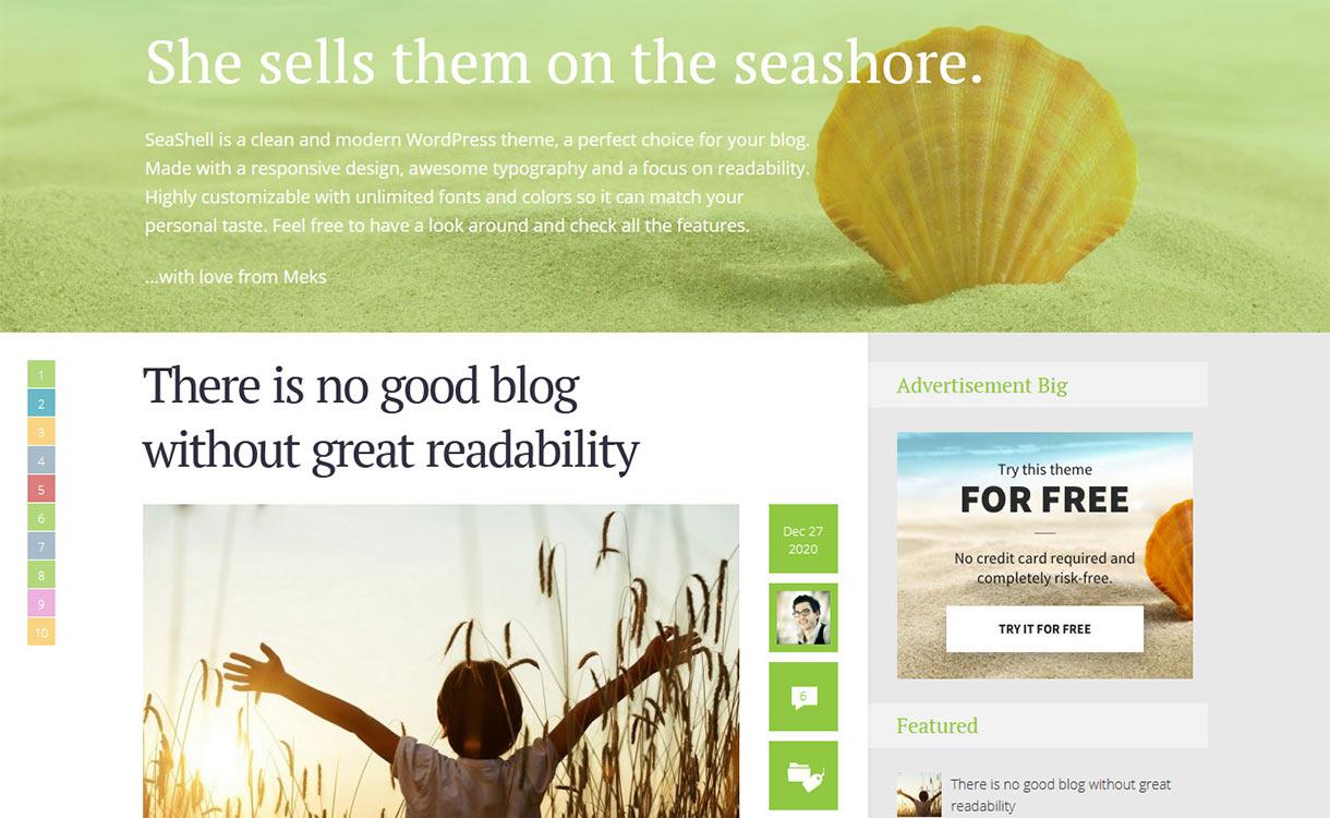 Sea Shell Blog WordPress Theme