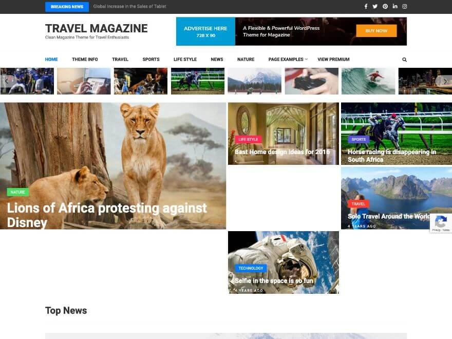 Travel Magazine - Free Responsive Magazine WordPress Theme