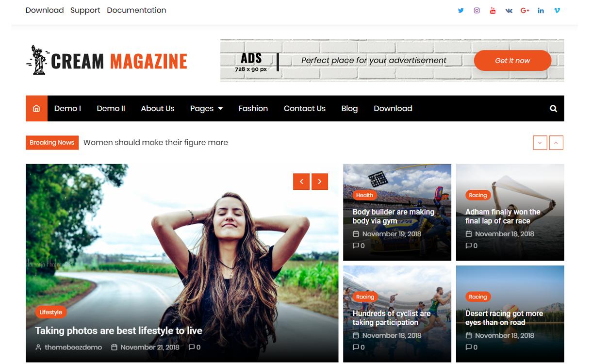 cream magazine screenshot - 25+ Best Free Responsive Magazine WordPress Themes 2020
