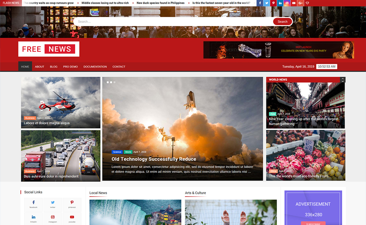 freenews - 25+ Best Free Responsive Magazine WordPress Themes 2020