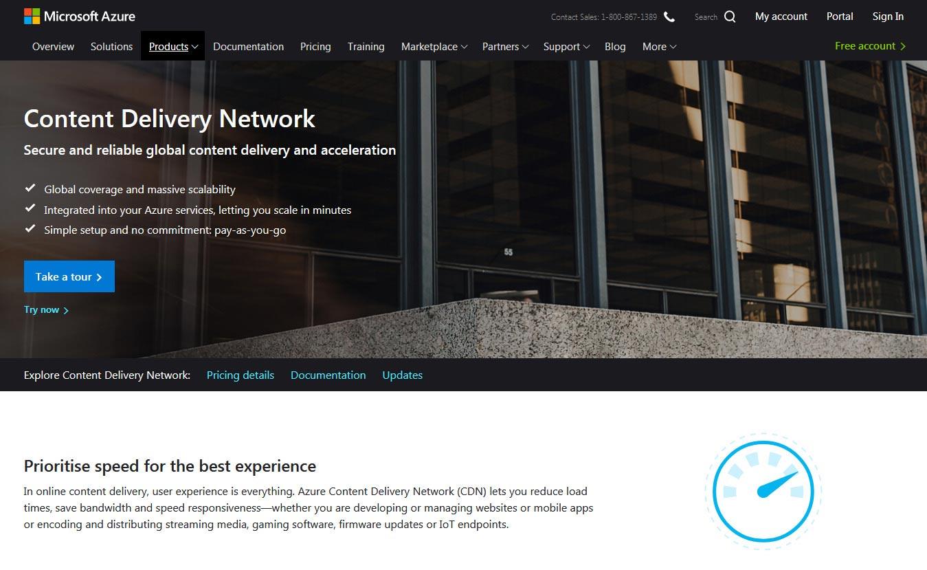 Azure - 10 Best CDN Services to Speed Up Your Website