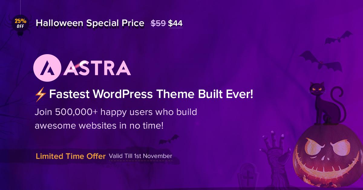 Astra - 25+ Best WordPress Deals and Discounts for Halloween 2019 (Upto 49% OFF)