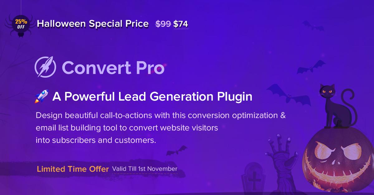 Convert Pro - 25+ Best WordPress Deals and Discounts for Halloween 2019 (Upto 49% OFF)