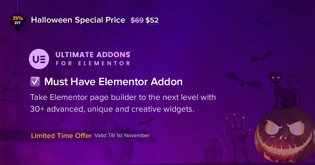 Ultimate Addons for Elementor - 25+ Best WordPress Deals and Discounts for Halloween 2019 (Upto 49% OFF)