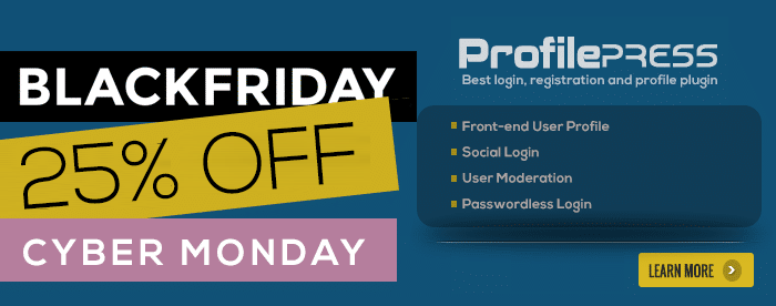ProfilePress - Black Friday Cyber Monday Deal