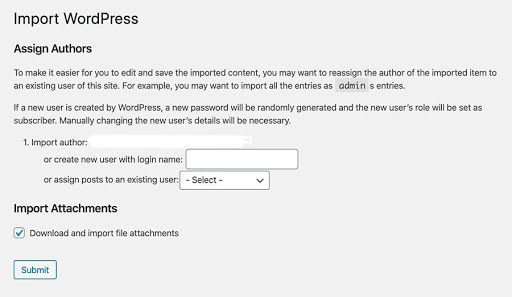 Importing WordPress