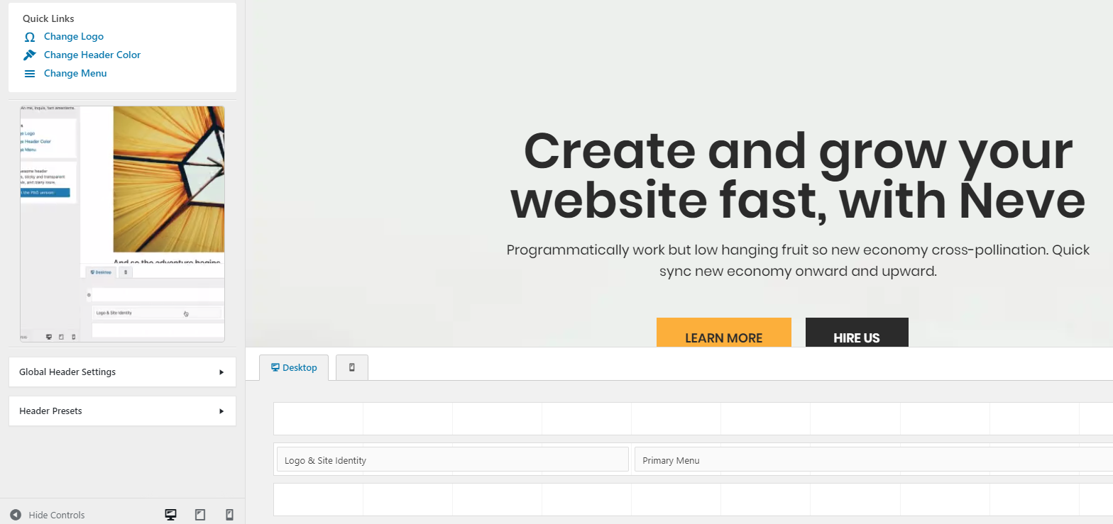 Neve WordPress Theme - Header Customization