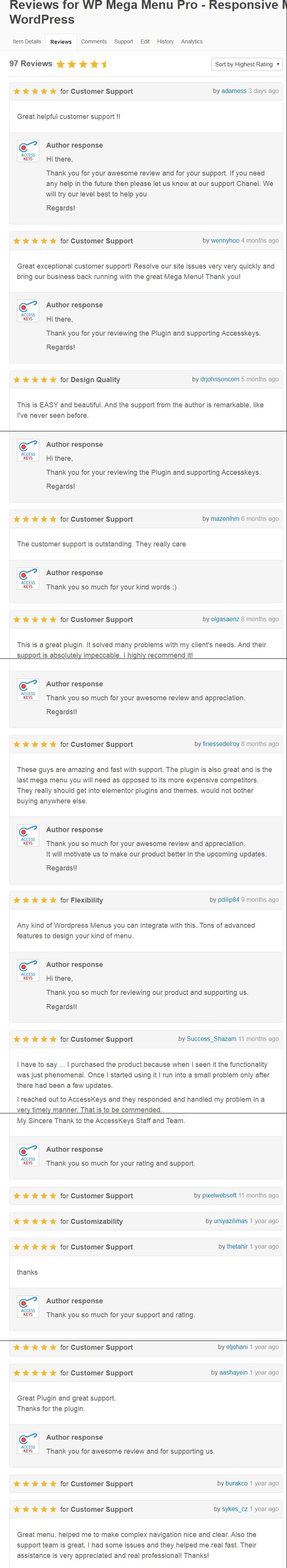 WP Mega Menu - Customers Review