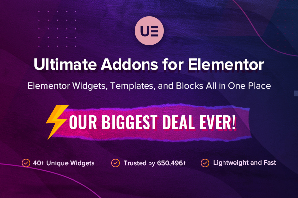 Ultimate Addons for Elementor - Black Friday & Cyber Monday Deal