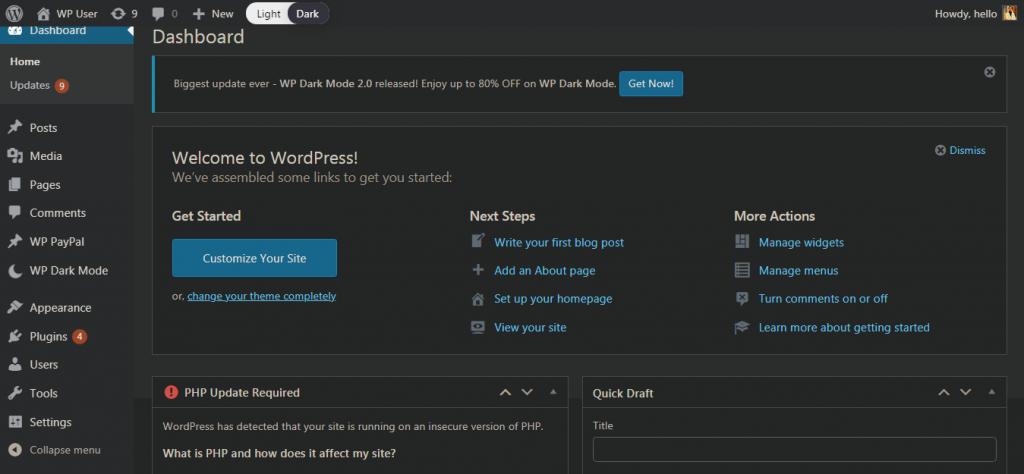 How to Add Dark Mode to Your WordPress Admin Dashboard?